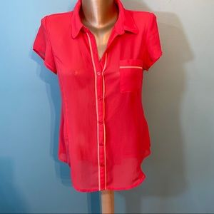 Guess sheer button up blouse